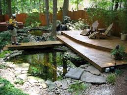 Lawn & Garden:Pleasant Backyard Home Garden Design With Wooden Patio  Decking Also Natural Small