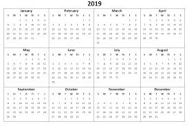 Word Year Calendar 2019 Year Calendar Word With Printable Excel Pdf And Template