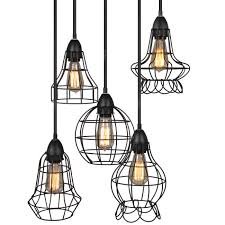 best choice products 5 light industrial metal hanging pendant lighting fixture w adjustable cord