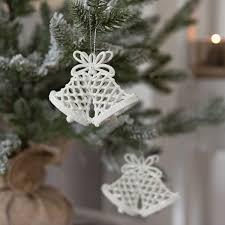 2er Set Weihnachtsglocke Weiss Glitzer Weihnachtsbaumdekoration Christbaumschmuck