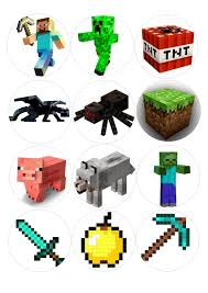 Minecraft Pictures To Print Minecraft 1 Sheet X 12 Cupcake Toppers For Edible Print Outs Sugar