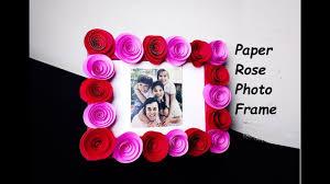 Paper Flower Frame Diy How To Make Paper Rose Photo Frame Tutorial Youtube