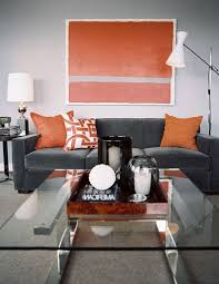 Orange Living Room Chairs Charming Design Orange And Gray Living Room Luxury Idea Gray And