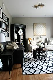 dining room with black rug black and white living room rug