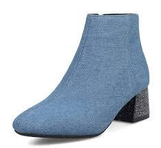 Light Blue Womens Heels Amazon Com Showhow Womens Retro Square Toe Mid Chunky