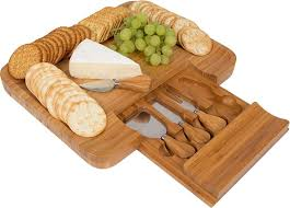 slide out bamboo cheese board and 4 piece knife set bamboo cheese serving tray
