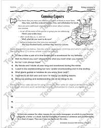 Comma Capers Using Commas In Sentences Printable Skills Sheets
