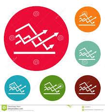 Line Chart Icons Circle Set Stock Illustration Illustration Of
