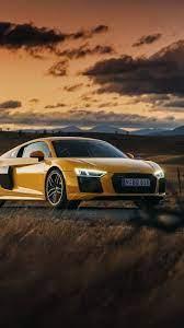 Audi R8 V10 yellow car at sunset ...