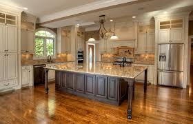 Dark Wood Floors In Kitchen Antique White Kitchen Cabinets With Dark Wood Floors