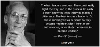 Best Leadership Quotes Best Robert K Greenleaf Quote The Best Leaders Are Clear They