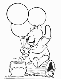 Winnie The Pooh Playing Balloon Coloring Pages Frre Free