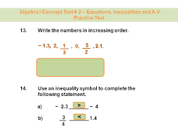 algebra i concept test 2 equations inequalities and a v