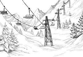 mountain ski lift chairs pencil drawing vinyl wall mural themes