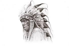 Fotografie Tetování Skica Americký Indiánský Bojovník Ruční Práce