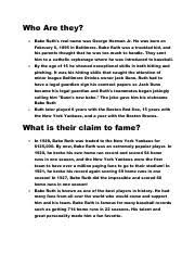 babe ruth essay informative essay english comp i babe ruth  2 pages babe ruth