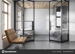 Stilvolle Weiße Badezimmer Interieur Bank Stockfoto