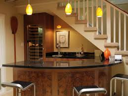 Interior:Exposed Brick Stone For Basement Bar Counter And Fireplace Combine  With Modern Tv Wall