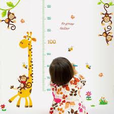 Giraffe Monkey Height Chart Wall Sticker Diy Kids Children
