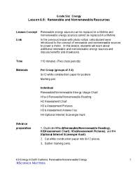Chart On Renewable And Nonrenewable Resources Renewable And Nonrenewable Resources Lesson Plan For 6th