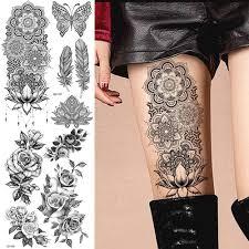 большой черный хна татуировки на руку браслет для ног индийская мандала цветок временная татуировка Mehndi женские наклейки для тела большая
