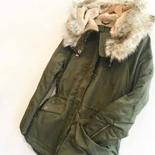 khaki winter parka jacket with faux fur lining and hood