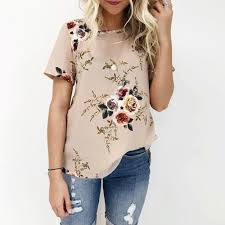 Flower Chart T Shirt Women Summer Simple Flower Shirt Plus Size Ladies Sexy