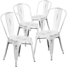 white metal furniture. Amazon.com: Flash Furniture 4 Pk. Distressed White Metal Indoor-Outdoor Stackable Chair: Kitchen \u0026 Dining C