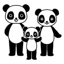 パンダ白黒家族かわいい動物の無料イラスト素材