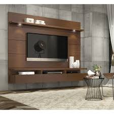 High Quality Cabrini Wall Mounted Floating TV Back Panel 2.2 In Nut Brown By Manhattan  Comfort