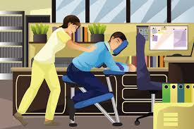 massage the working on a client in an office stock vector ilration of clip