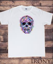 Skeleton Design T Shirt Mens T Shirt Skeleton Line 3d Design Colour Waves Skeleton Skull Print Ts1637