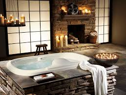 Bathroom Whirlpool On Stone And Fireplace With Aromatic Candles - Candles for bathroom