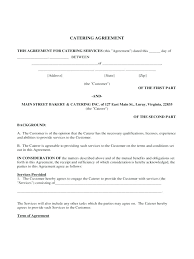 Catering Agreement Catering Contract For Schools Newsletter Templates Ideas