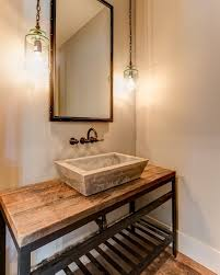 powder room furniture. Industrial Design Furniture Powder Room With Multi Light Pendant Reclaimed Wood Floor