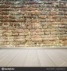 white floor with old brick wall interior room texture background stock photo