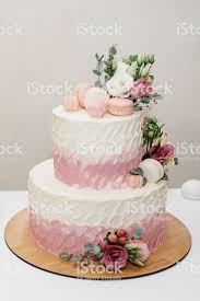 White Wedding Cake With Flowers Stock Photo More Pictures Of Baked