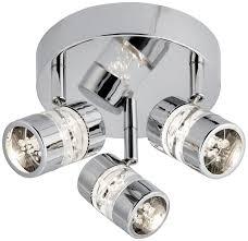 bubbles polished chrome 3 led bathroom ceiling spotlight plate ip44