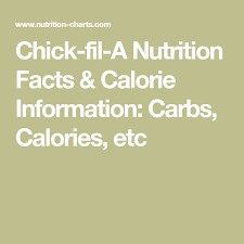 Chick Fil A Nutrition Facts Calorie Information Carbs