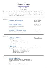 School Leaver Resume Template Resume Template First Job How To Write A Profile Examples Cv Work 19