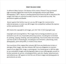 Photography Print Release Form Template Example Photographer Free ...