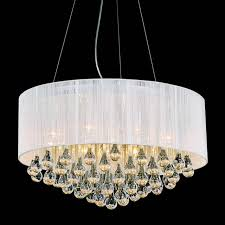 round modern chandelier lighting with white drum shades and