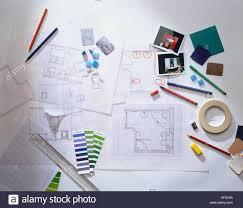 Interior Design Materials Including Floor Plans On Graph Paper