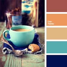 Warm, cozy and fresh color palette. It perfectly combines the opposing  carrot, turquoise