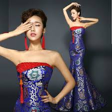 Tube top trailing royal blue strapless fishtail cheongsam wedding dresses  brocade long traditional chinese qipao evening dress|cheongsam wedding dress|chinese  qipaocheongsam wedding - AliExpress