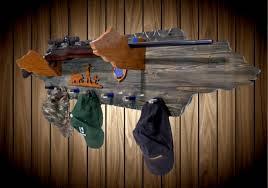 Rifle Coat Rack Handcrafted Weathered Wood Gun Rack Cherry Bear Hangers Man Praying 56