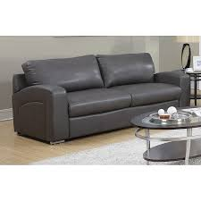 monarch specialties casual charcoal grey faux leather sofa