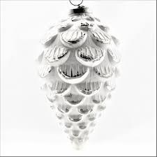 Christbaumschmuck Weihnachten Deko Zapfen Ornament Weiß Silber Glas 23 Cm Cor Mulder