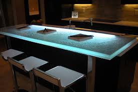view in gallery gorgeous led lighting adds a whole new dimension to your kitchen glass countertop