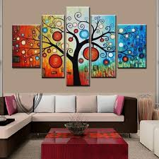 Oil Paintings For Living Room Hand Painted Modern Abstract Apple Tree Oil Painting On Canvas